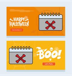 happy halloween invitation design with calender vector image