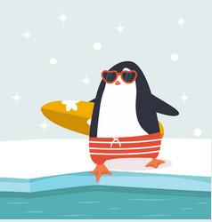 Happy penguin holding surfboard vector