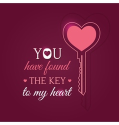 Happy Valentines Day card with key vector