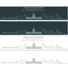 Havana single line skyline banner vector