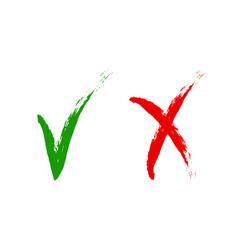 icons yes no green check mark ok sign vector image