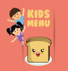 Kids menu boy and girl slice bread vector