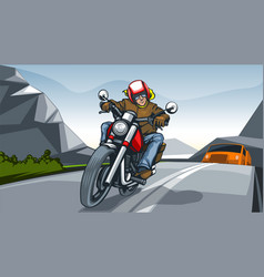 Landscape with a motorcycle rider vector