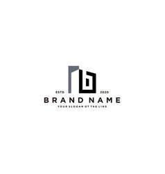 Letter b and building logo design vector