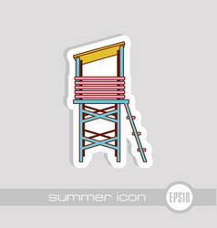 Lifeguard tower icon summer vacation vector
