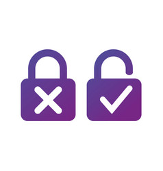 lock with cross and check mark for lock unlock vector image