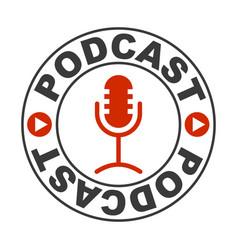 Logo icon radio voice podcast microphone vector