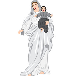 Madonna with child in her arms vector