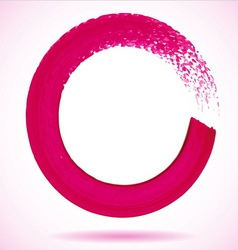 Magenta paintbrush circle frame vector image