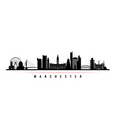 manchester city skyline horizontal banner vector image