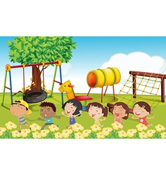 Many children playing in the park vector