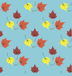 maple leaves seamless blue orange art vector image