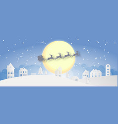 Merry christmas snowy town day night and happy vector