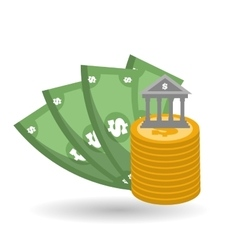 money icon over white background vector image