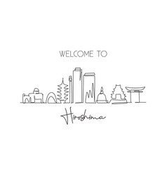 One continuous line drawing hiroshima city vector