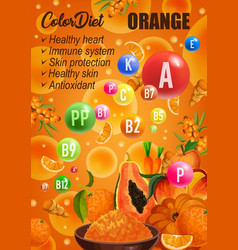Orange diet cancer prevention food nutrition vector
