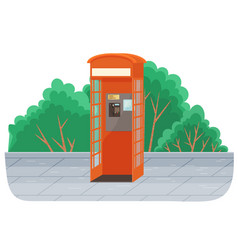 Payphone icon in flat style stands on sidewalk vector
