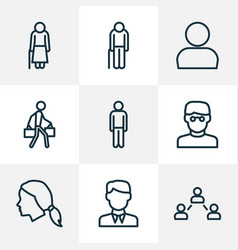 people outline icons set collection of head man vector image