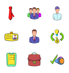 presentation icons set cartoon style vector image