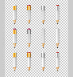 Realistic white empty wood sharp pencil vector