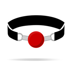 red silicone ball gag with a leather belt vector image