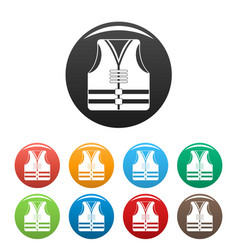 Rescue vest icons set color vector