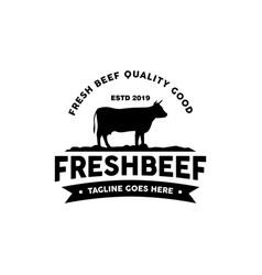 retro vintage beef emblem label logo design vector image