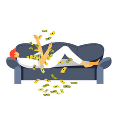 Rich man laying on sofa throwing money up vector