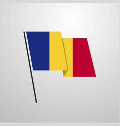 romania waving flag design background vector image