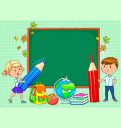 school board blank for your text with funny kids vector image