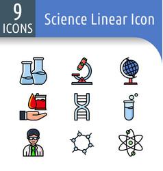 Science color outline icon vector