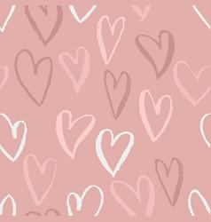 seamless heart pattern ink grunge background vector image
