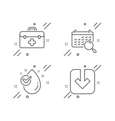 Search calendar water drop and first aid icons vector