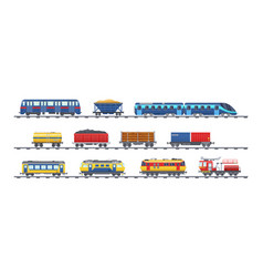 Set freight train with wagons tanks freight vector