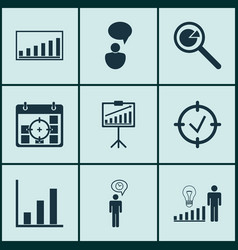 Set of 9 management icons includes company vector
