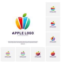 set of colorful apple logo design concept fruit vector image