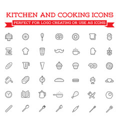Set of cooking kitchen icons includes icons of vector