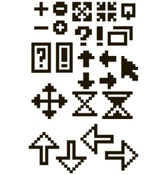 Set of different black pixel font symbols vector image