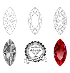 Set of marquise cut jewel views vector image