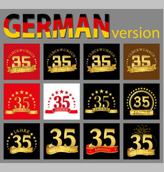 Set of number thirty-five 35 years celebration vector