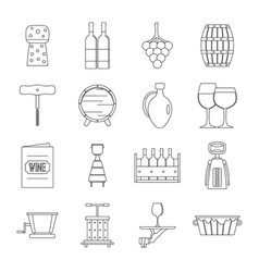 shopping cart icons set outline style vector image