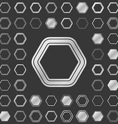 Silver metallic hexagon icon design set vector