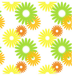simple flat floral seamless pattern on a white vector image