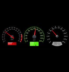 Speedometer scales on black background vector