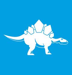 Stegosaurus dinosaur icon white vector