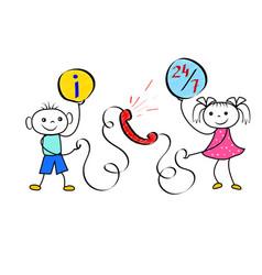stickman customer call service cartoon figures as vector image