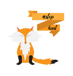 Stop hunting with fox ribbon vector