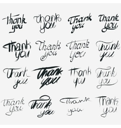 Thank you calligraphic inscription set vector