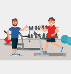 Trainer and young man on treadmill sport gym vector