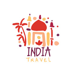 Travel to india logo with taj mahal vector